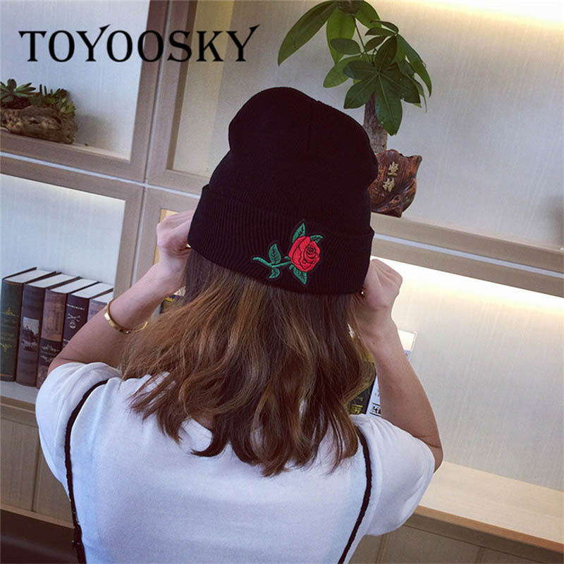 TOYOOSKY Winter Beanie Hat Ladies Knit Hats For Women Rose Pattern Caps Beanie Touca Knitted Cap gorros With Ear Flaps female