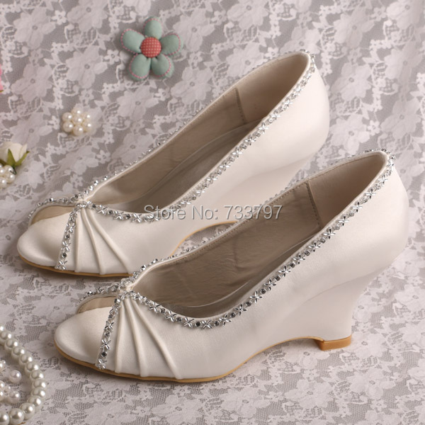 Wedopus MW292 Women Peep Toe Wedge Heel Evening Shoes Wedding Shoes with edge charms philips hr1863 00 viva collection