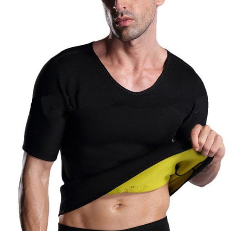Shapewear For Men Sauna Sweating T-shirt Vest Neoprene Body Shaper Abdomen Fat Burn Belly Control Slimming Leotard Shirt Corsets
