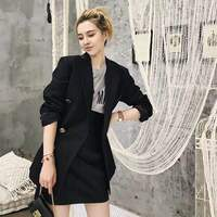 Fashion 3 Pieces Set Women Skirt Suit Double Breasted Blazer Jacket & High Waist Leather Skirt & T shirt Casual Female Sets 2018