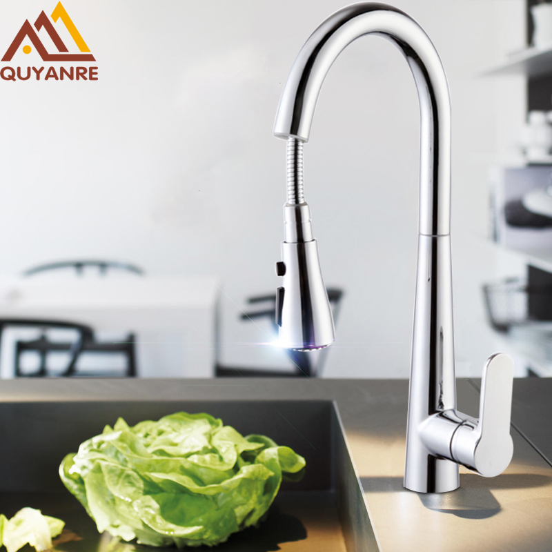 купить Quyanre Chrome Nickel Pull Out Kitchen Faucet 3 Functions Sprayer 360 Rotation Single Handle Mixer Tap Kitchen Sink Tap Crane по цене 4661.88 рублей