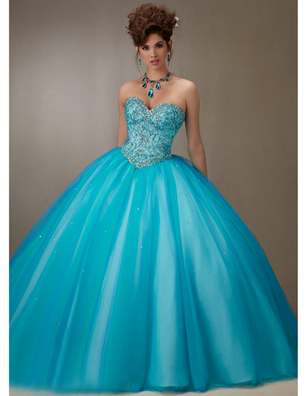 Newest princess quinceanera dresses with jacket crystal baby blue ...