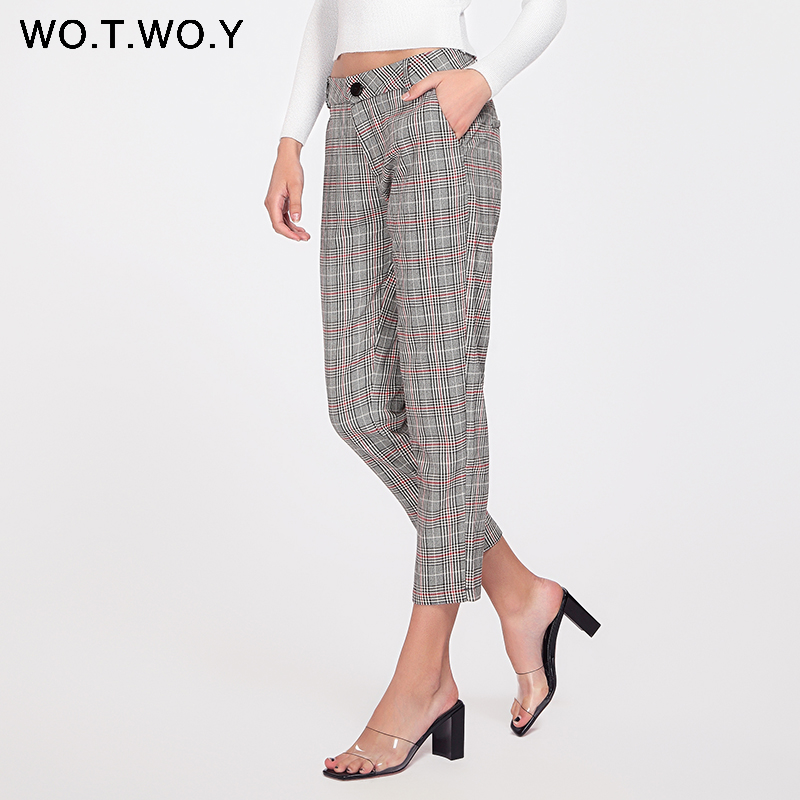 WOTWOY High Waisted Grey Plaid   Pants   Women Causal Summer Trousers Women Business OL Suit   Pants   Female Pockets Streetwear   Capris