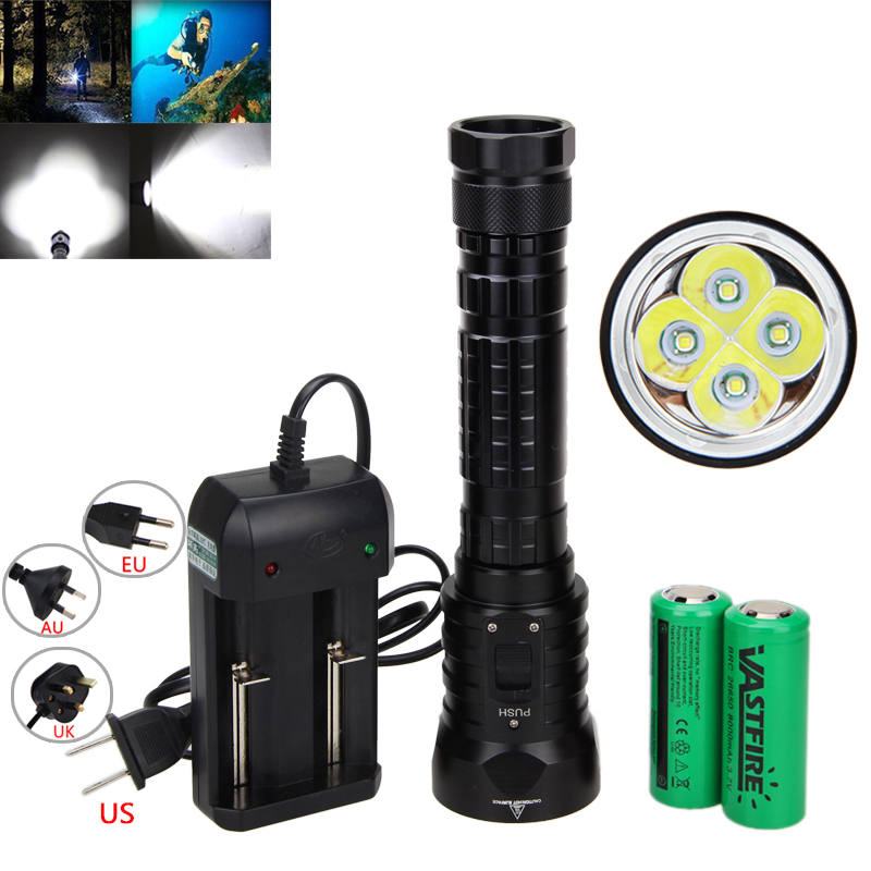 Waterproof Underwater 100M 15000LM 4X XM-L T6 LED Scuba Diving Diver Flashlight Torch + 18650 Battery +Charger