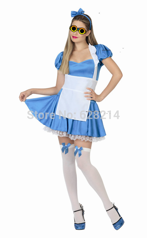 Wholesale -2016 New Carnival Cosplay <font><b>Costume</b></font> Party Clothing for adult Women knitted <font><b>Sexy</b></font> Maid <font><b>costumes</b></font> dress Blue color image