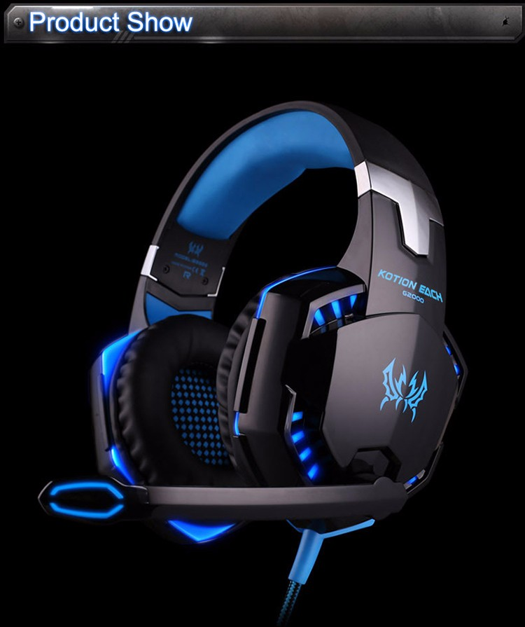 EACH G2000 Over-ear Gaming Headphone Headset Earphone With Mic Stereo Surrounded Bass LED Light For PC Game (10)
