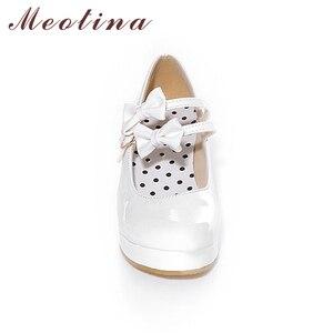 Image 4 - Meotina 큰 사이즈 9 10 신발 여성 펌프 라운드 투 메리 제인 블랙 플랫폼 신발 웨지힐 보우 숙녀 신발 옐로우 화이트