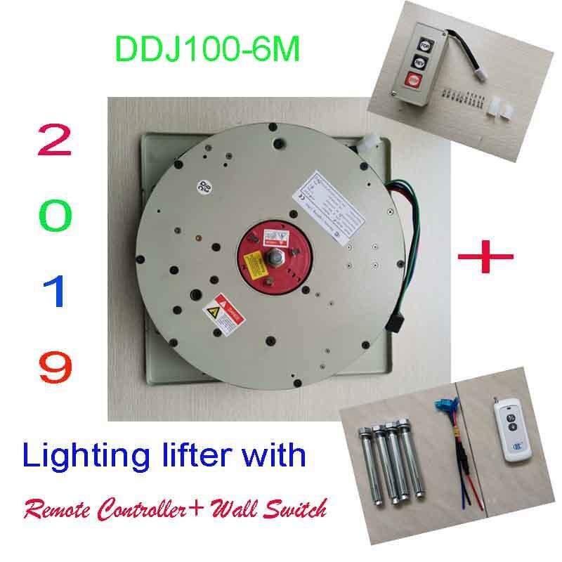 100 KG 6 M Gota Wall Switch + Controle Remoto Iluminação Lifter Chandelier Hoist Luz Elevação Sistema de Guincho Elétrico 110 v-120 V, 220-240 V