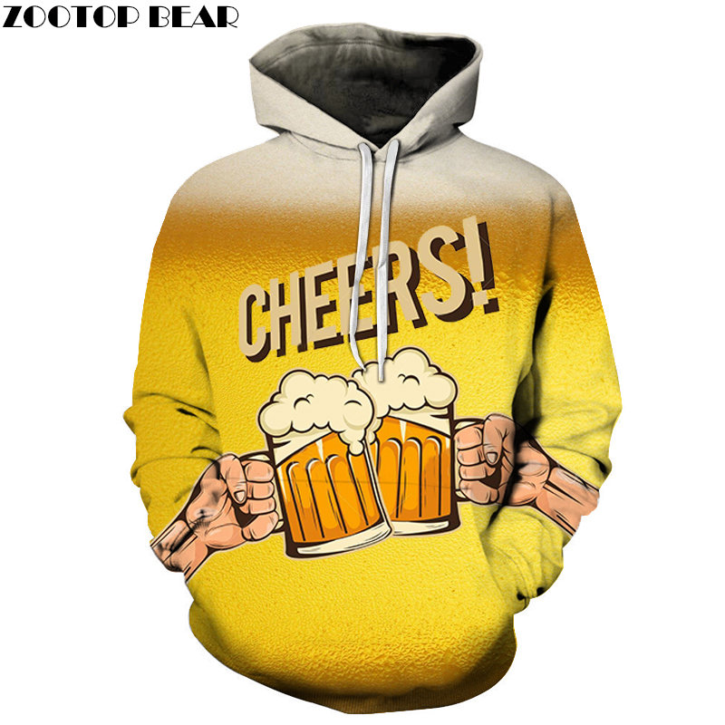 CHEERS Hoodies Leisure Men Sportsuit beer stout Sweatshirt Brand 3d Pullover Casual Tracksuits Drop Ship Long Sleeve ZOOTOPBEAR