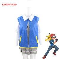 VEVEFHUANG Pokemon Ash Ketchum Cosplay Costumes Pocket Monster Cosplay Blue Jacket + Gloves + Hat + Ash Ketchum Ball