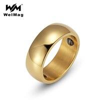 WelMag Hematite Health Ring For Women Trendy Stainless Steel Simple Elegant Bio Energy Male Ring Titanium