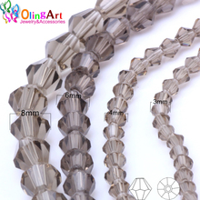 OlingArt 3mm/4mm/6mm/8mm Bicone Upscale Austrian Multicolored crystal gray color beads Loose bead bracelet DIY Jewelry Making