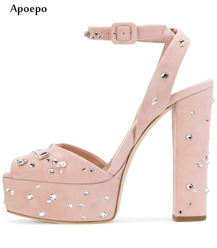 New Summer Fashion Crystal Decorations Thick Heels Sandal for Woman Sexy Peep Toe Ankle Strap platform Shoes Suede Sandal egonery patent leather strap buckle peep toe platform square high heels fashion summer style sandal woman shoes party womens