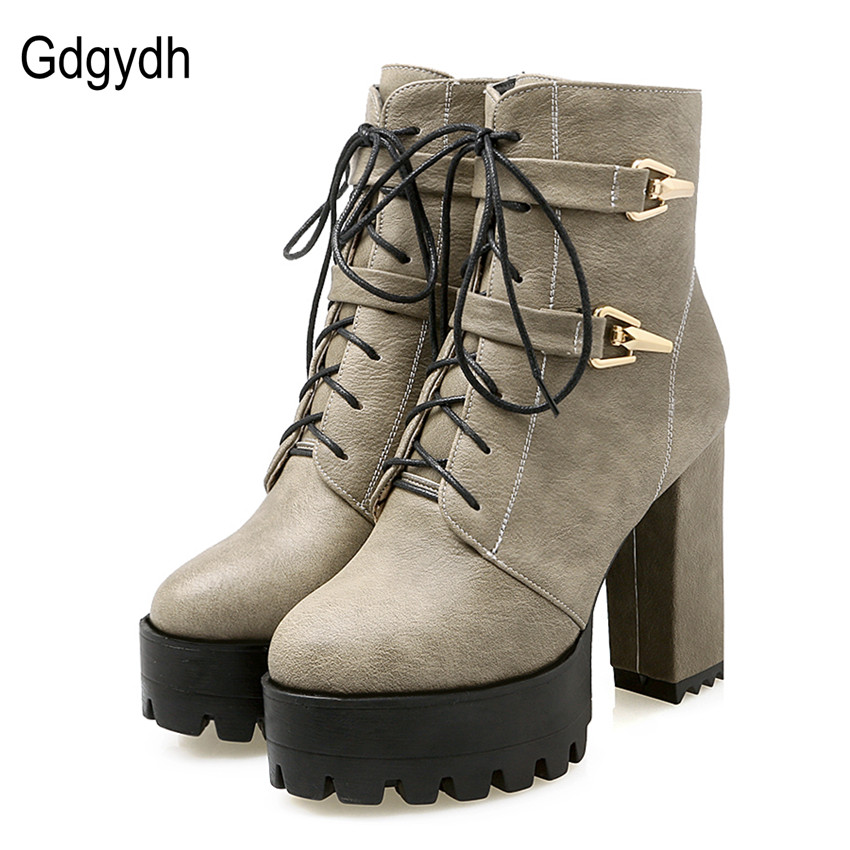 Gdgydh Spring Autumn Lace Up Women Boots High Heels Shoes Fashion Platform Square Heels Black Buckle Ankle boots Plus Size 43 new spring autumn women boots black high heels thick heel boots lace up platform ankle boots large size 34 43