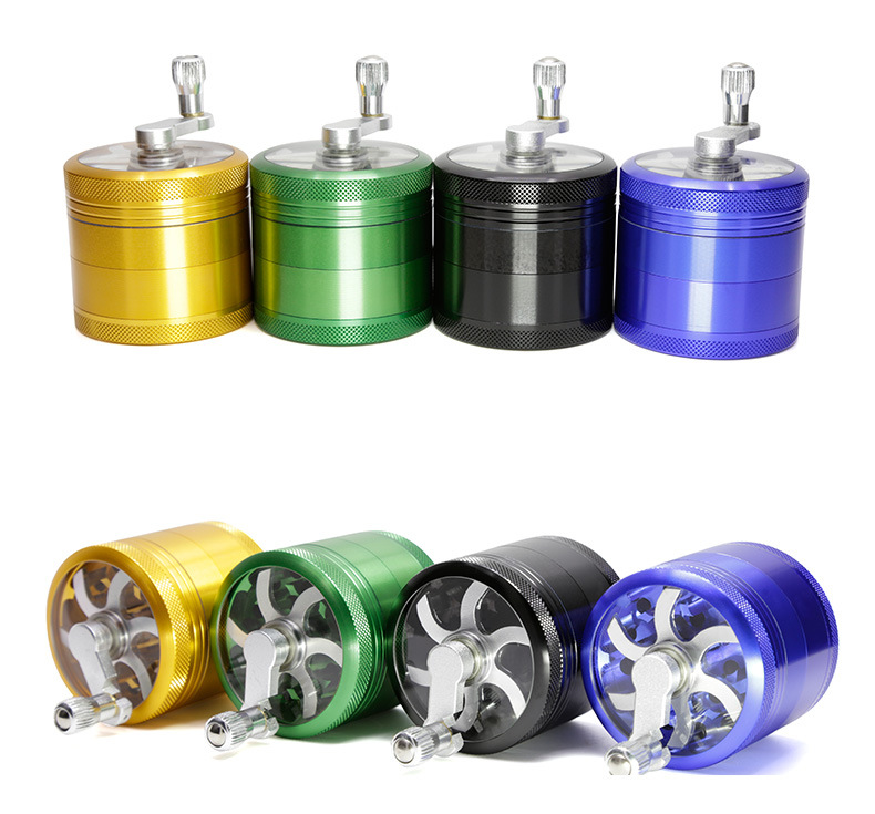 4 Layers 55mm Herb Grinder Tobacco Spice Weeds Grass Grinder Smoke Crusher Hand Crank Muller Mill Pollinator Smoking Accessories Мельница