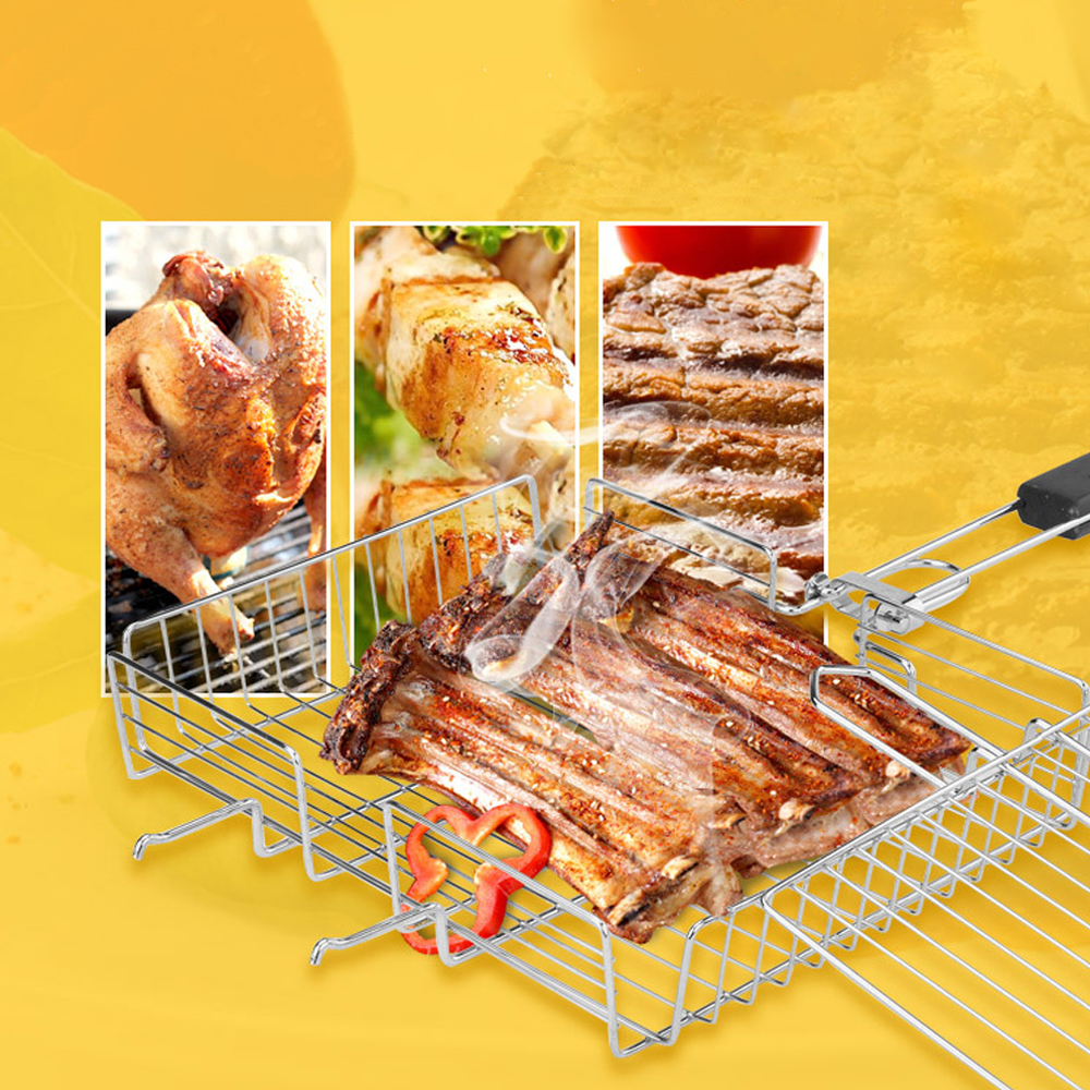 Barbecue Grilling Basket Wood handle Adjustable Folding Fish Basket Steak Fish Corn Vegetable BBQ Grill Net Rack BBQ Accessories
