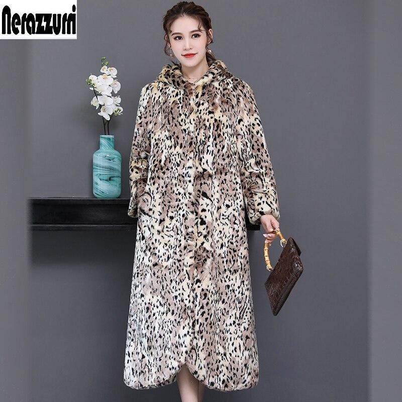 Nerazzurri зимнее пальто из искусственного меха с леопардовым принтом для женщин с капюшоном Пушистый Теплый Плюс Размер Роскошный искусственн