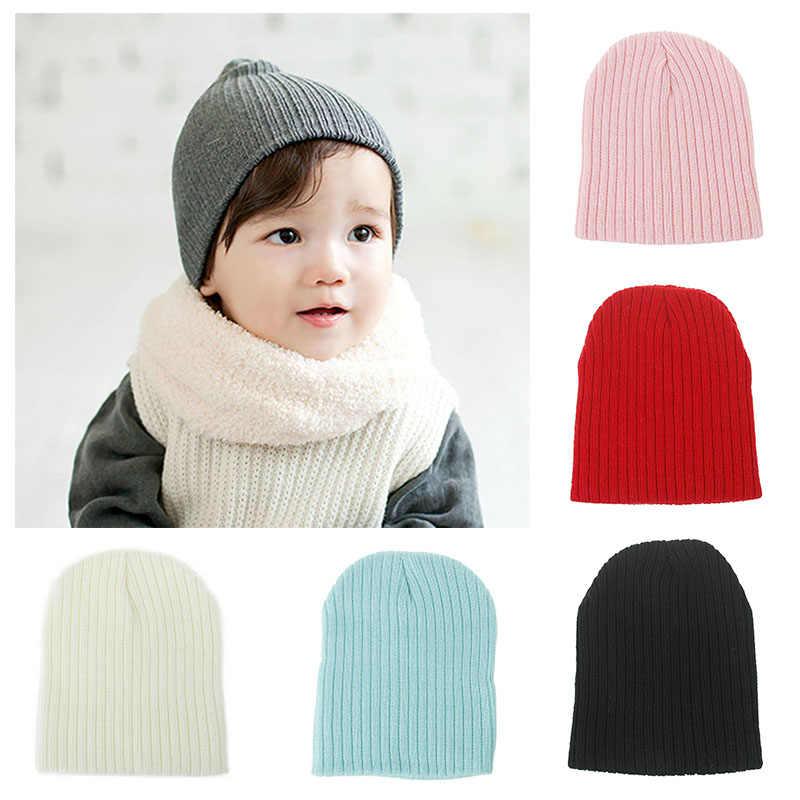 สีทึบของเด็กหมวกถักหมวกเด็กทารกหมวกฤดูหนาวเด็กทารกที่อบอุ่นเด็กชายหมวกฤดูใบไม้ร่วงหมวกเด็ก