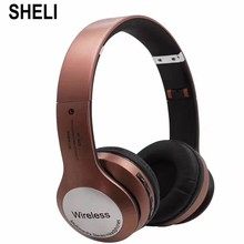 SHELI Stereo Wireless Bluetooth Bass Earphone Headphones With Mic Support TF Card FM For iPhone Samsung Xiaomi Huawei Headset(China)