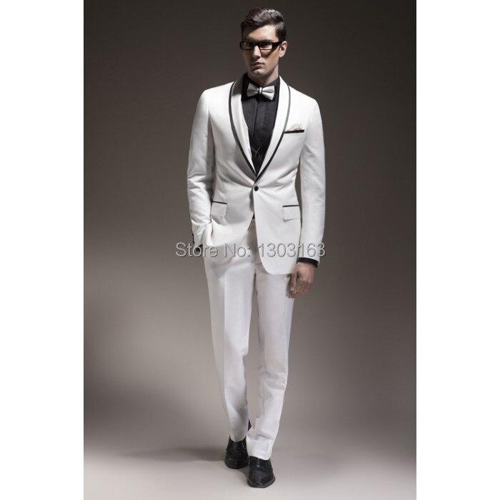 Online Slim Fit White 1 On Groom Tuxedos Shawl Black Lapel Best Man Groomsman Men Wedding Suits Bridegroom Jacket Pants Tie Vest Aliexpress