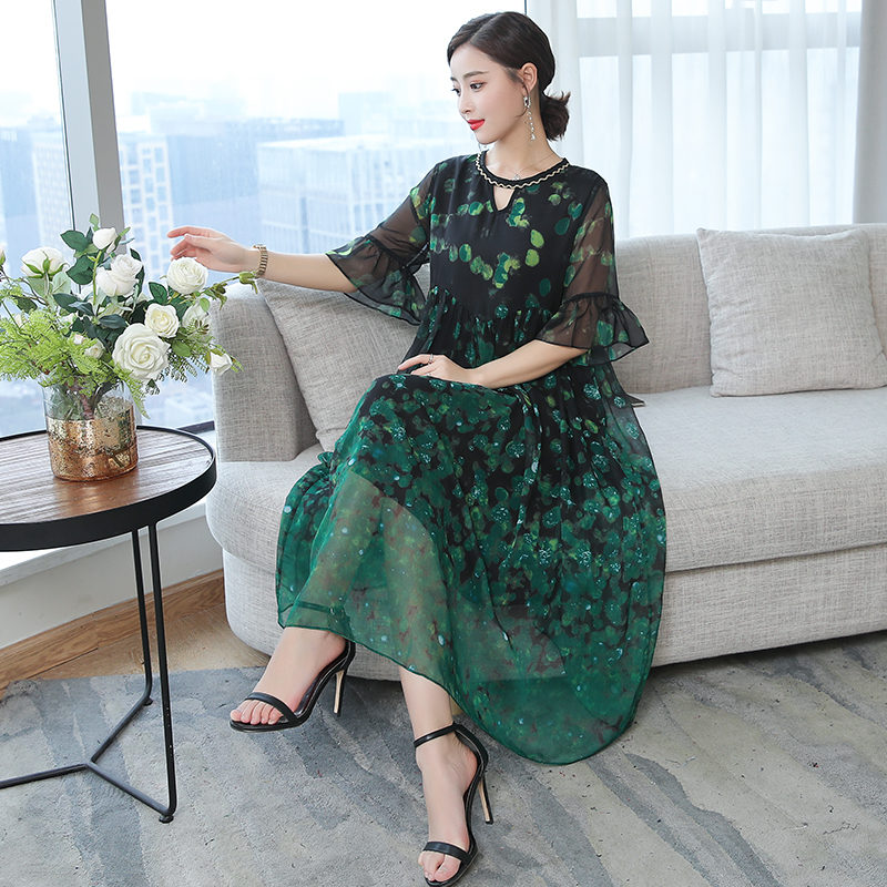 Green Flowing Silk Dresses Women Natural 2019 Plus Size Large Quality Polka Dot Party Night Ruffles Summer Clothing