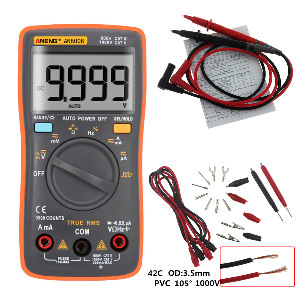 AN8008 Orange True RMS Digital Multimeter 9999 counts transistor tester capacitor tester automotive electrical rm409b clip test-in Multimeters from Tools