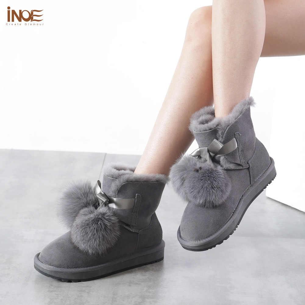 INOE Koyun Derisi Süet Deri Shearling Yün Kürk Astarlı Kadın Kısa Kışlık Botlar Pom-pom Tarzı Ayak Bileği Kar Botları Ayakkabı kızlar için