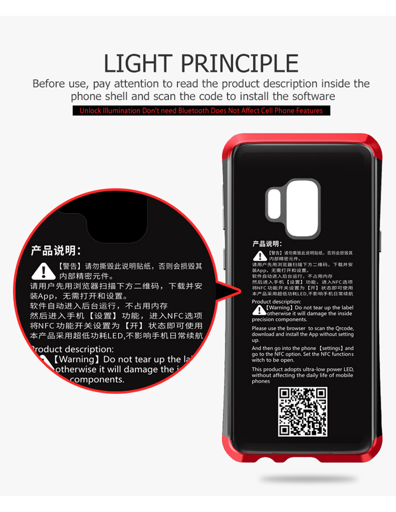 LUPHIE NFC LED Flash Case For Samsung S9 Metal Transparent Bumper Tempered Glass Back Cover(6)