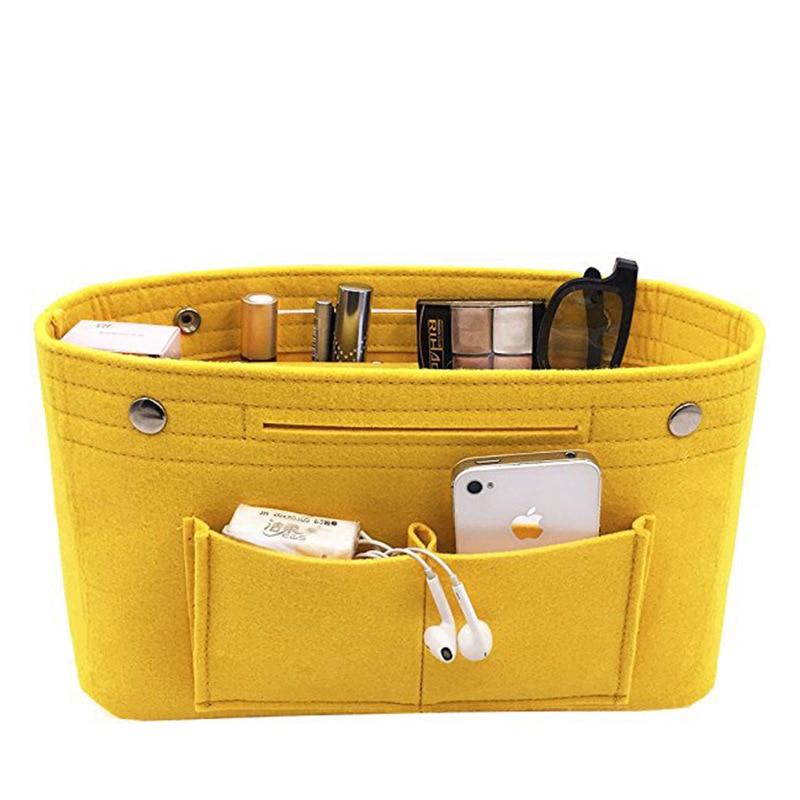New Arrive Women Makeup Organizer Felt Cloth Insert Makeup Bag Multi-pockets Cosmetic Bag Portable Beauty Toiletry Bag