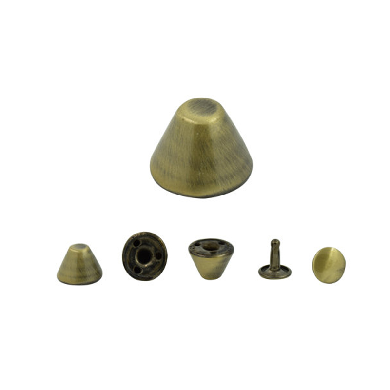 1000pcs. Brush Brass Cone Spikes Double Cap Rivets Studs Findings 12 Mm