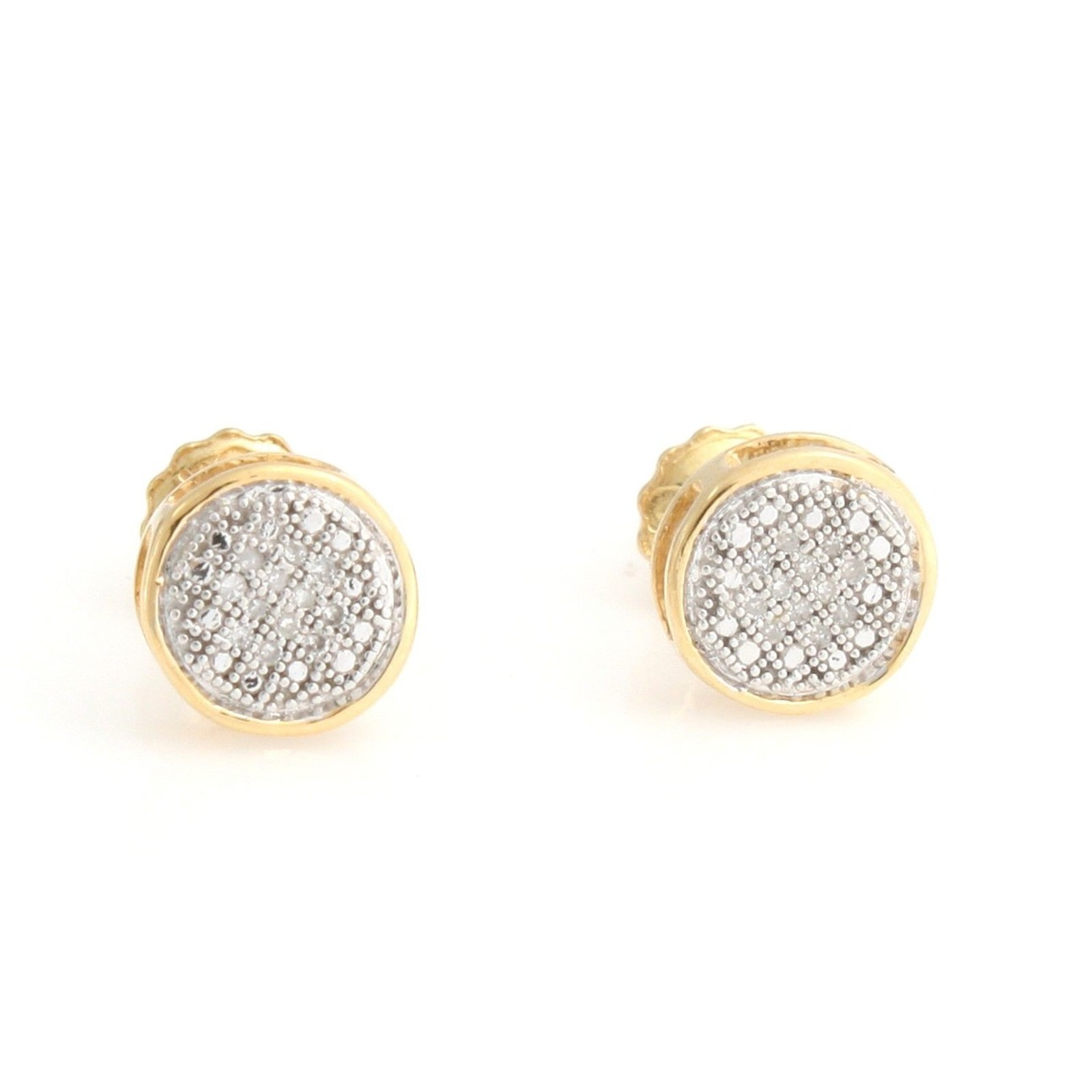 18K Yellow Gold Plated Sterling Silver Gold Natural Diamond Stud Earrings Q037 pair of zircon gold plated stud earrings