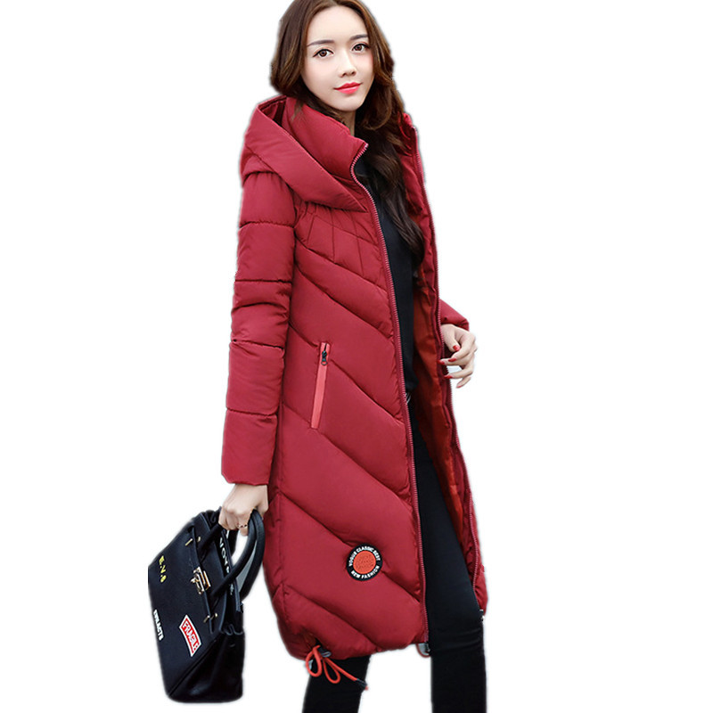 2017 Thickening Hooded Warm Plus Size Cotton Padded  Parka Slim Long Warm Jacket Women Winter Casual Parka Manteau Femme TT3111 2017 new autumn winter cotton coats women vintage print long hooded thickening cotton padded jacket warm overcoat plus size z162