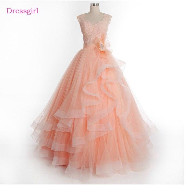 d58d3f91cf0 Peach Cheap Quinceanera Dresses 2019 Ball Gown V-neck Tulle Appliques Lace  Elegant Sweet 16 Dresses