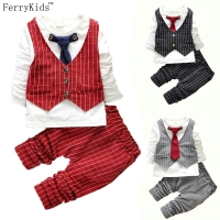 Kids Baby Boy Clothing Set Spring Autumn Plaid Vest Tie Kids Boys Clothes Sets Korean Children