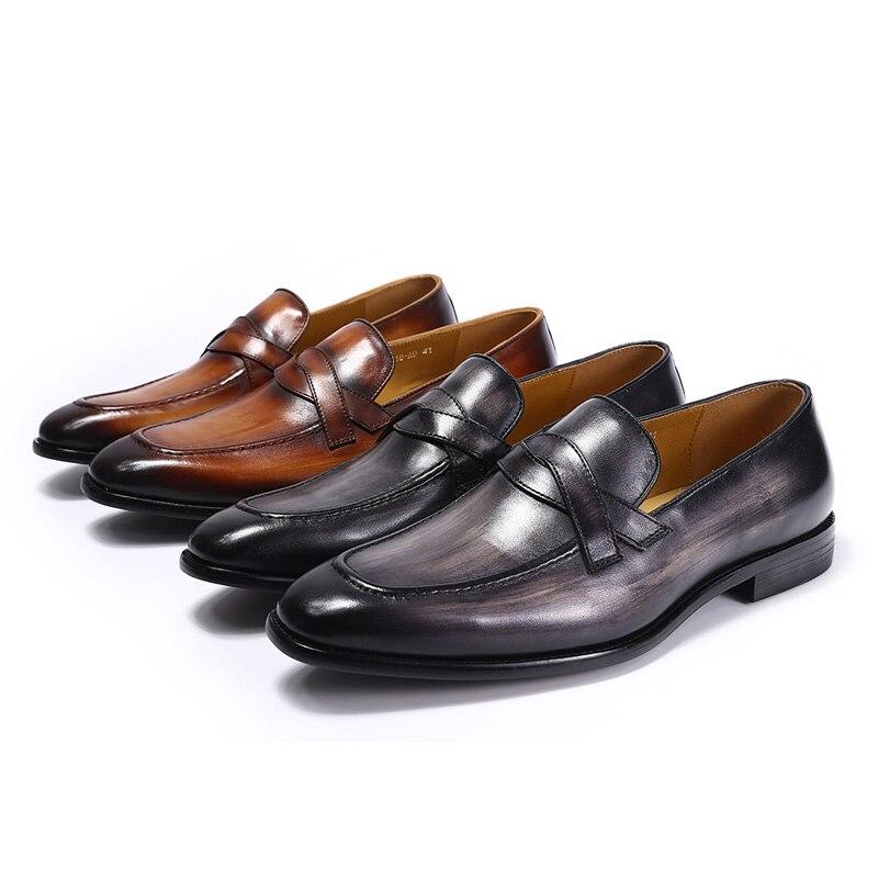 46 Genuíno Trabalho Respirável Estilo 39 Qualidade Sapatos gray Escritório Tamanho Casual Calçado Negócios De Clássico Homens Mocassins Masculino Brown Couro Alta qZBUntnv0