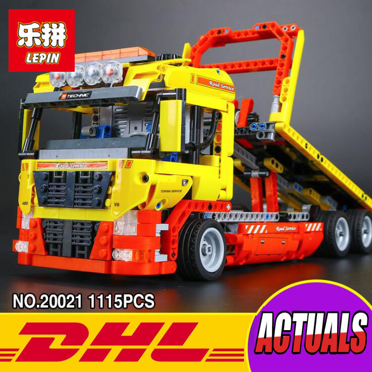 New LEPIN 20021 technic series 1143pcs Flatbed trailer Model Building blocks Bricks Compatible Toy Gift 8190 Educational Car lepin 20005 2793pcs technic series model building block bricks compatible with boys toy gift compatible legoed 42023