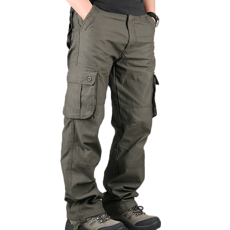 Men's Cargo Pants Mens Casual Multi Pockets Military Large size 44 Tactical Pants Men Outwear Army Straight slacks Long Trousers(China)
