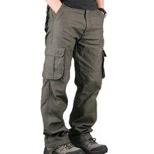 Męskie spodnie Cargo męskie dorywczo wiele kieszeni wojskowe duże rozmiary 44 spodnie taktyczne męskie znosić armii proste spodnie długie spodnie