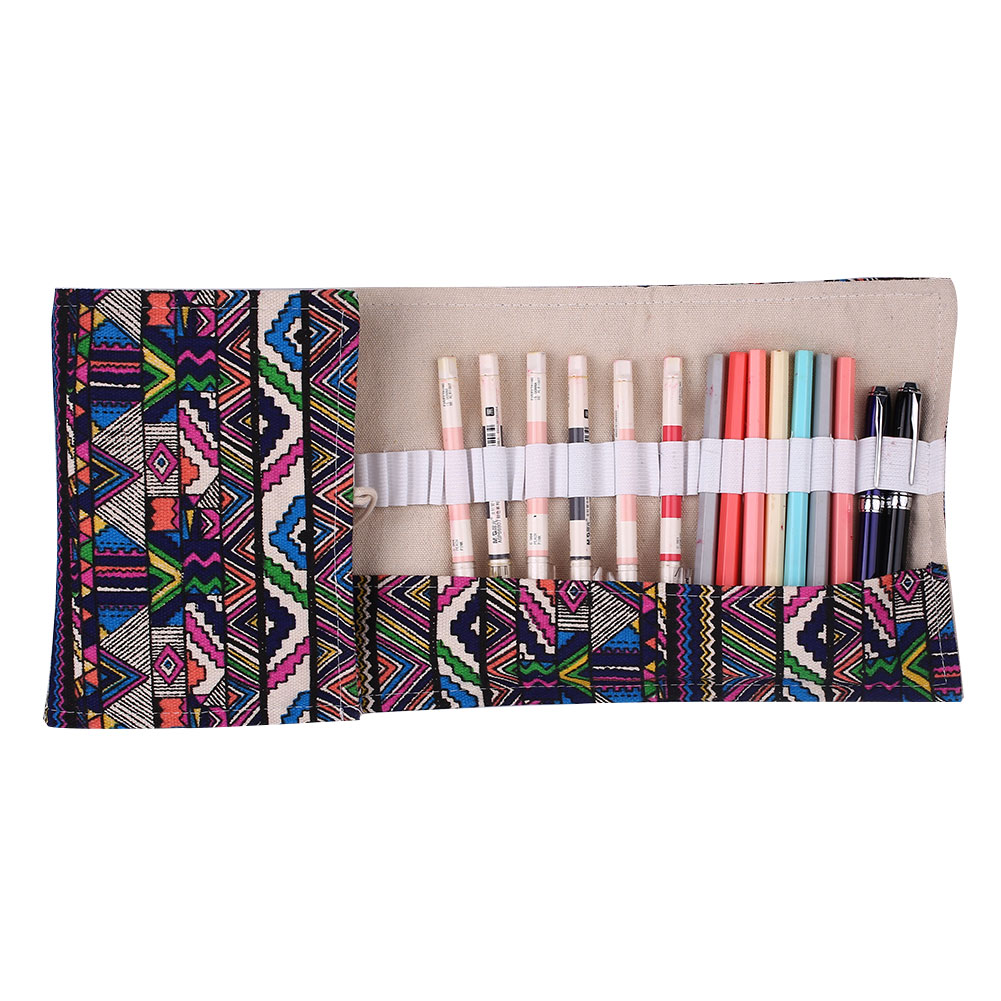 цена Roll Up Pencil Case 48 Holes Canvas Pen Pouch Cosmetic Makeup Storage Bag Holder