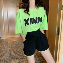 Two Piece Set Top and Pants Striped Loose Biker Shorts + Neon Green Contrast Sports Letter T-shirt Tracksuit Women Clothes 2019 contrast stitch and striped curved hem denim shorts