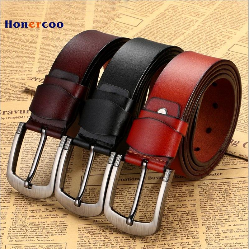 HONERCOO 100 cowhide genuine leather belts for men brand Strap male pin buckle fancy vintage jeans