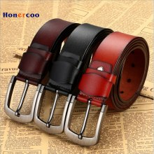 HONERCOO 100% cowhide genuine leather belts for men brand Strap male pin buckle fancy vintage jeans cintos XF001 freeshipping
