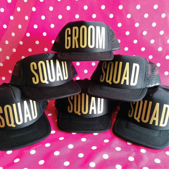 73c2f72e ... Personalize GROOM SQUAD wedding groomsmen Bachelorette party Mesh  Trucker Snapback trucker hats caps gifts favors decoration ...