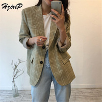 HziriP England Style 2018 Women Blazers and Jackets Autumn Long Sleeve Plaid Single Breasted Pocket Office Work Outwear Blazer