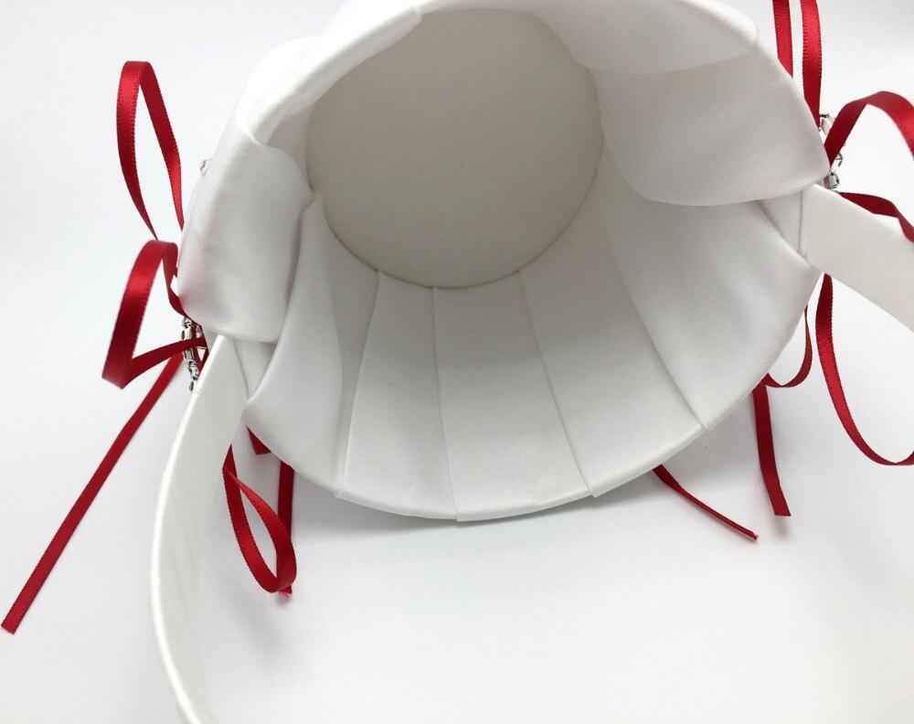 4 pièces/ensemble décoration de mariage rouge nuptiale Satin anneau oreiller + panier de fleurs + livre d'or + ensemble de stylo produits de mariage fournitures - 6