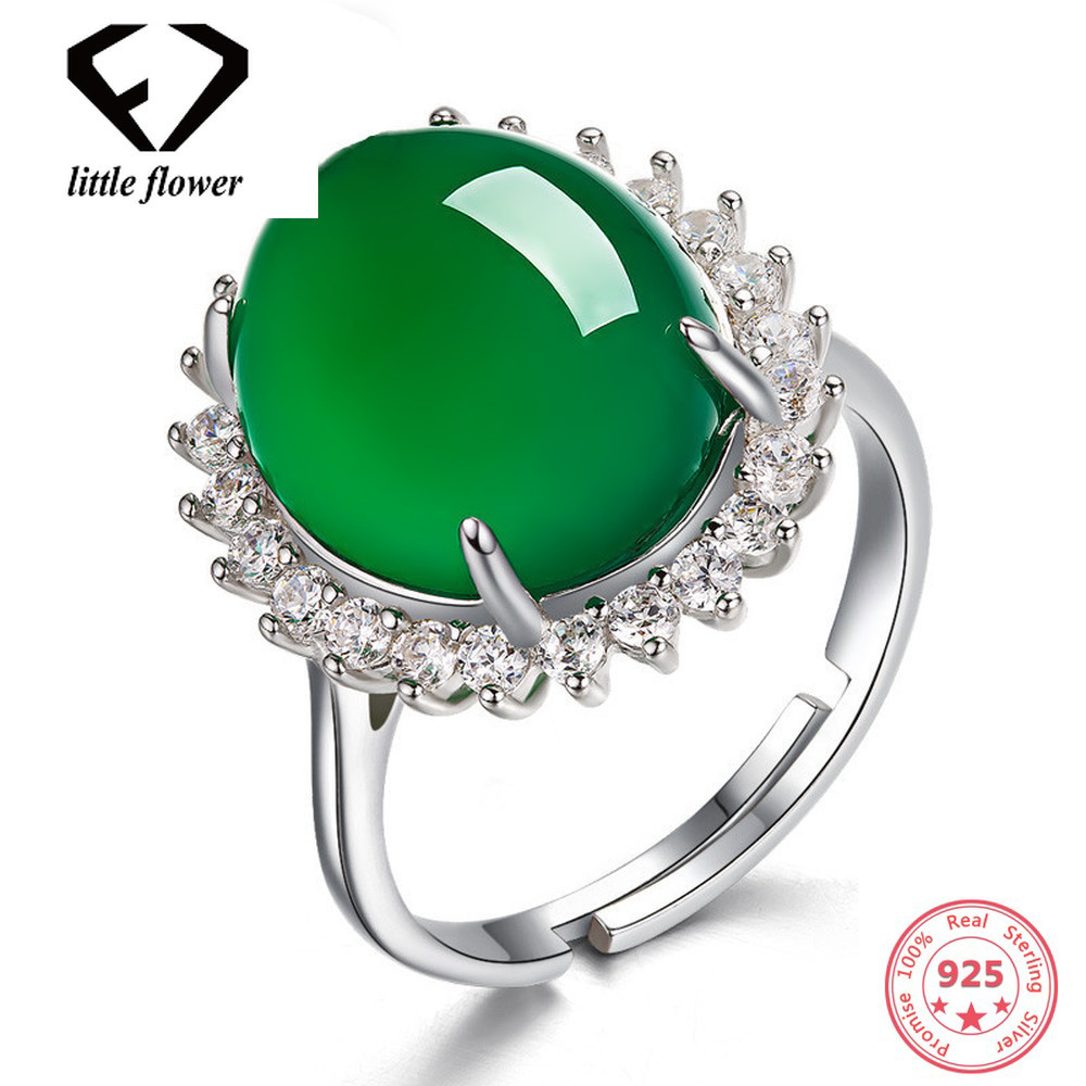 Emerald Jade Rings Green Chalcedony Gemstone Silver S925 Ring Turquoise Oval Flower Agate for Women Jade anillos de bizuteria