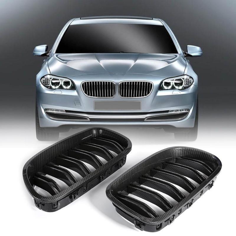 1 paire de grilles de calandre en Fiber de carbone noir brillant pour BMW série 5 F10 F18 2010-2015 accessoires de voiture 2019 nouveau chaud