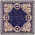 100 cm * 100 cm Sarja De Seda Das Mulheres 100% Seda Quadrado Padrão Floral Pétala Folha de Alta Qualidade Muçulmano Cachecol Hijab 6116