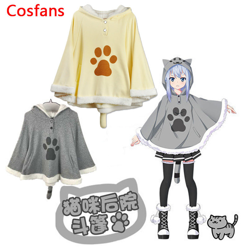 Hot Harajuku Neko Atsume Cosplay Cloak Winter Cute Cat Hoodies Coat Daily Fleece Cloak Xmas Gift Lolita Tops Cute Cat Costumes