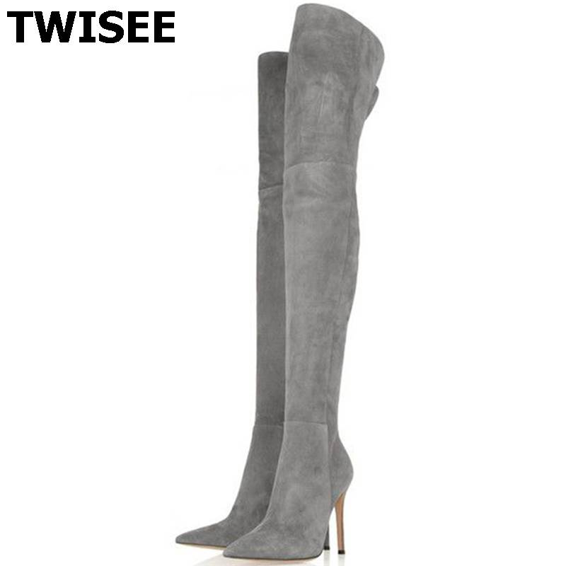 TWISEE 2016  mujer femininas women thigh high boots over the knee high heel boots winter autumn woman shoes plus size34-43 botas avvvxbw 2016 brand women boots winter over the knee boots shoes woman sexy high heeled thigh high boots botas femininas c323